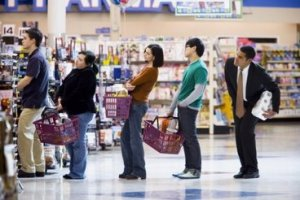PeopleWaitingInLineWithShoppingBaskets