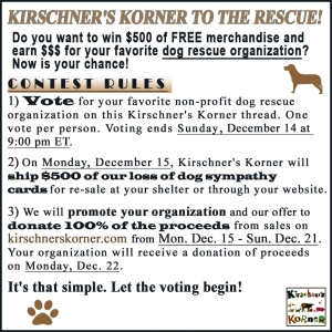 Kirschners Korner dog rescue contest
