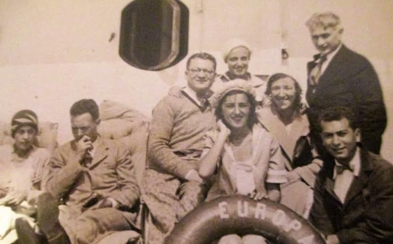 On the ship to Odessa on the Black Sea with family (grandfather pictured lower right)