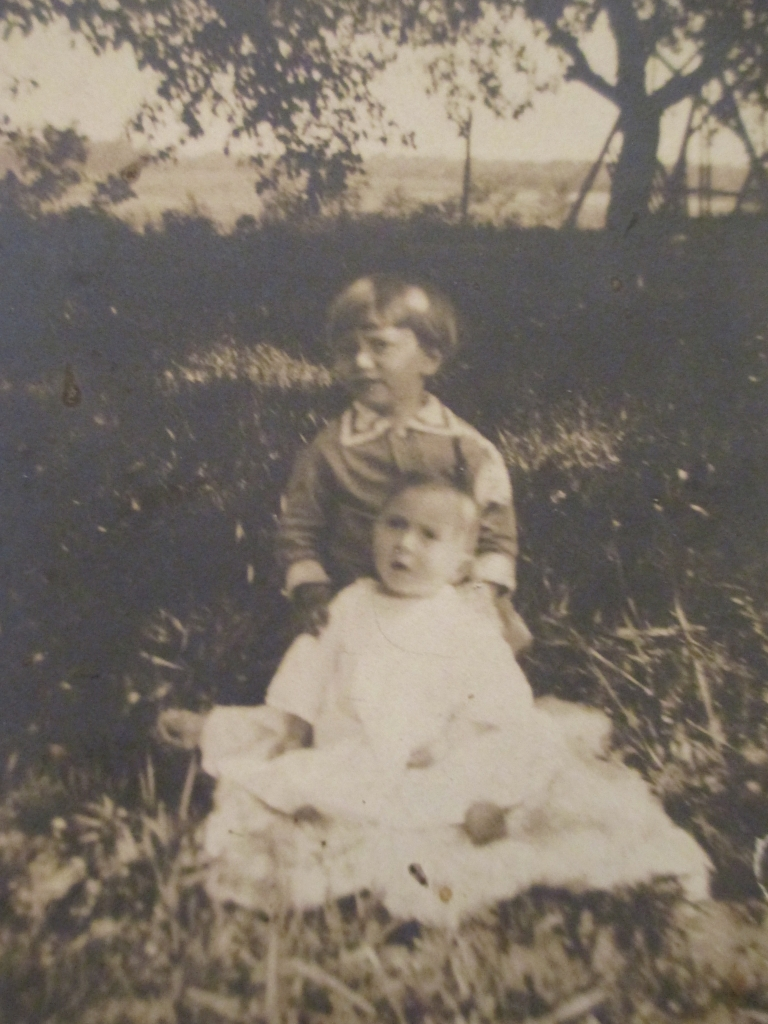 My grandfather and his sister on the farm, 1912