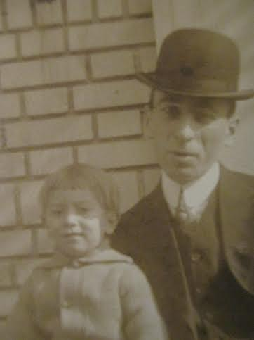 My grandfather with his father, 1913