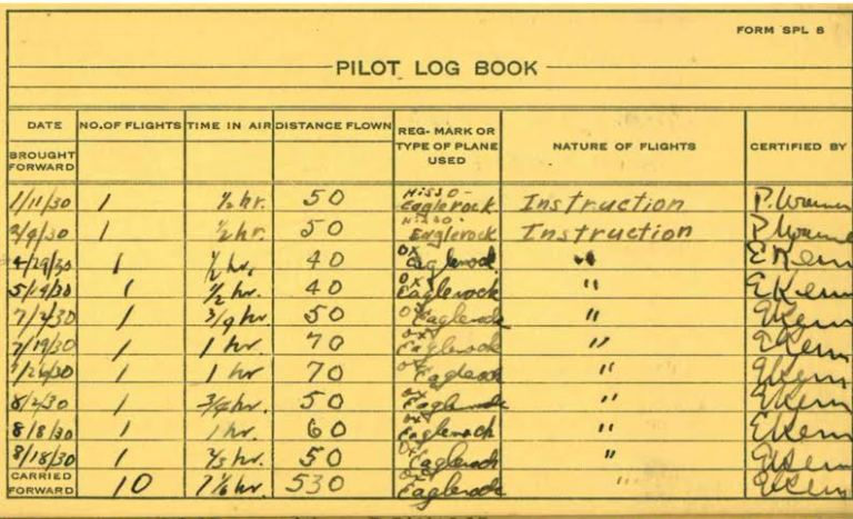 Grandfather's pilot log book, 1930