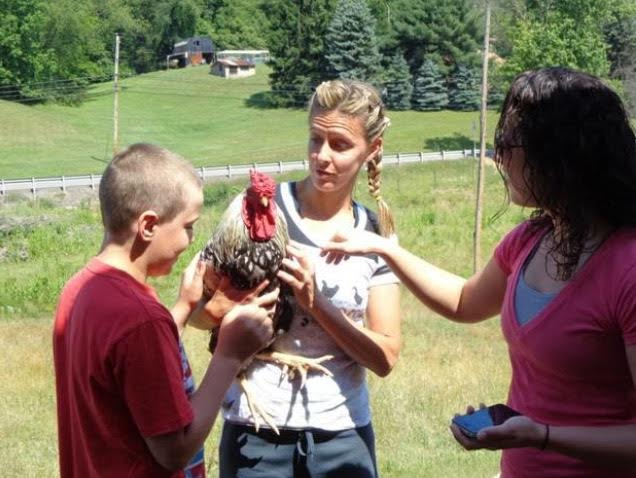 Founder Karen Phillips teaching visitors on a farm tour
