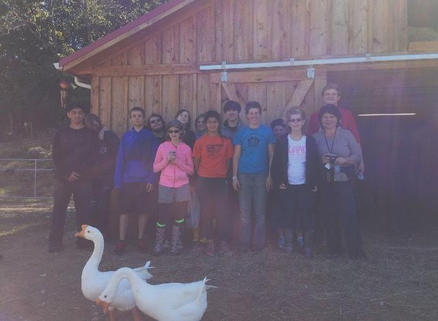 High school students routinely visit the sanctuary for tours and learn about farmed animals