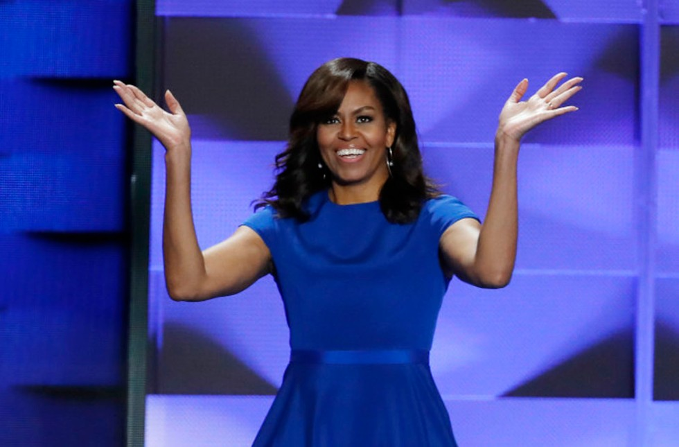 First Lady Michelle Obama walkz on stage during the first day of the Democratic National Convention in Philadelphia , Monday, July 25, 2016. (AP Photo/J. Scott Applewhite)